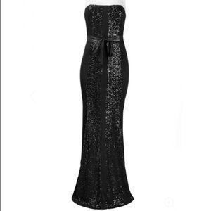 Monique Lhuillier Strapless Sequin Jersey Dress